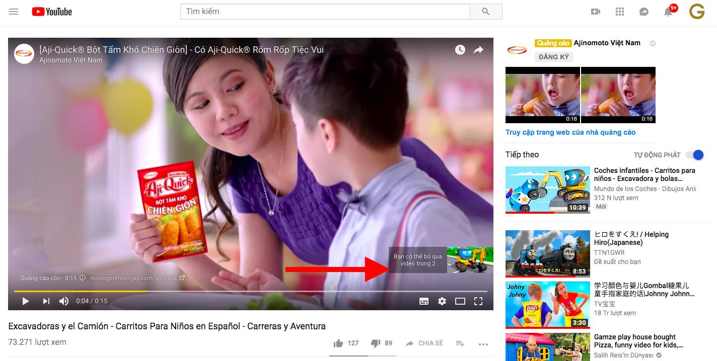 Quảng cáo trên video Youtube